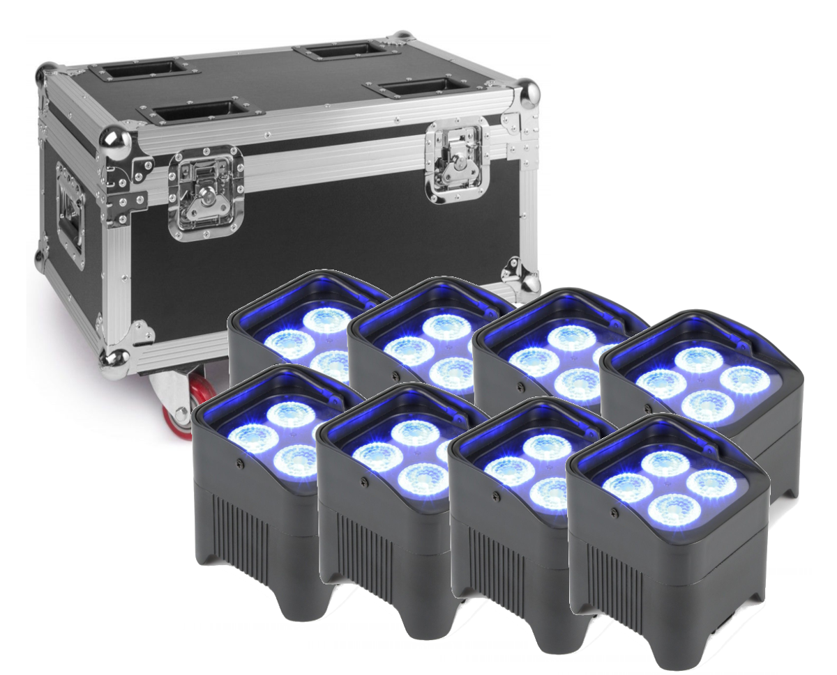 Pack de 8 projecteurs BeamZ BBP94 PAR à LED portable (vertical)