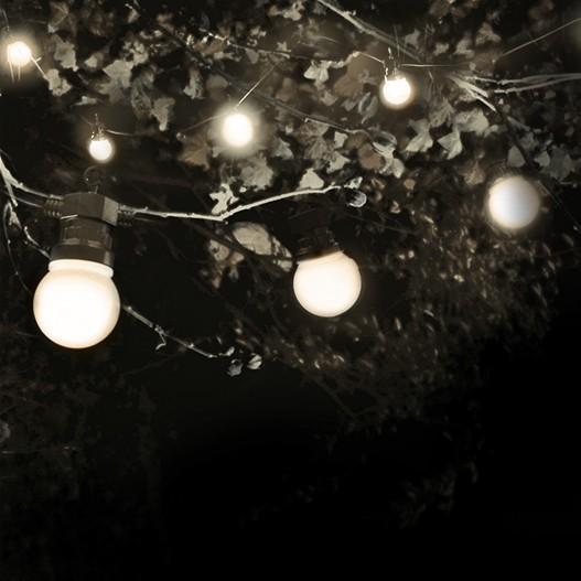 Guirlande guinguette Lampe Blanche câble noir de 10 M